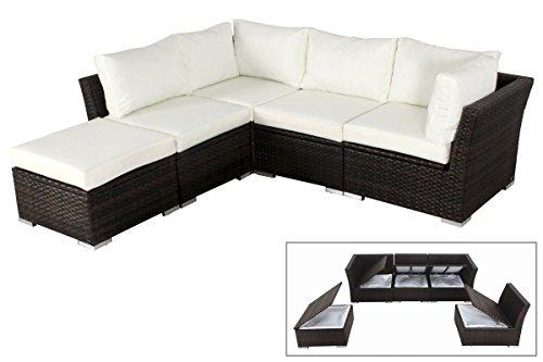 OUTFLEXX stilvolle Lounge Sitzgruppe Sofa Set aus hochwertigem Poly-Rattan, braun marmoriert, mit kleinem Hocker Sessel, inkl. weiche Polster, für 5 Personen, Kissenboxfunktion, wetterfest