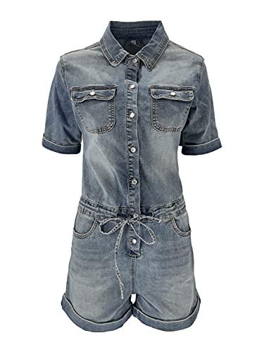JOPHY & CO. Tuta Intera Blue Jeans Denim Donna Monopezzo Jumpsuit 100% Cotone con Coulisse in Vita, Maniche e Gambe Corte (cod. 056, l)