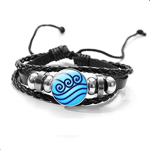 Water Tribe Symbol Bracelet Avatar The Last Airbender Jewelry Glass Cabochon Round Dome Black Leather Charm Bracelets Bangle Anime Cosplay Accessories Jewelry Gifts For Women Men