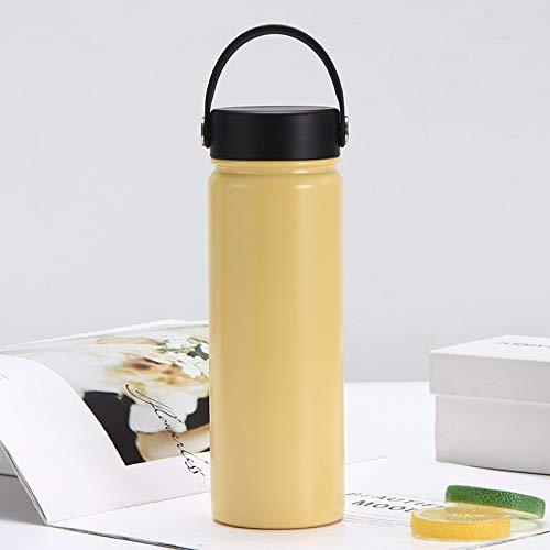 QAZW Botella de Agua de Acero Inoxidable,Termo de Acero Inoxidable,Sin BPA,Café Té Leche Caliente o Fría por Un Día, para Adultos y Niños,Gold-500ml
