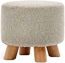 Footstools for Living Room, Ottoman Pouffe Padded Chair Stool with Removable Linen Cover 4 Beech Legs (Color : Khaki)
