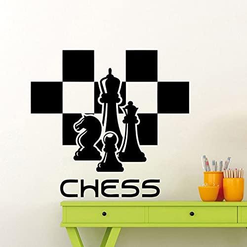 HGFDHG Calcomanía de Pared de Club de ajedrez, Tablero de ajedrez, Tablero de ajedrez, Vinilo, Pegatina para Ventana, Dormitorio Adolescente, Arte Interior, Papel Tapiz Creativo