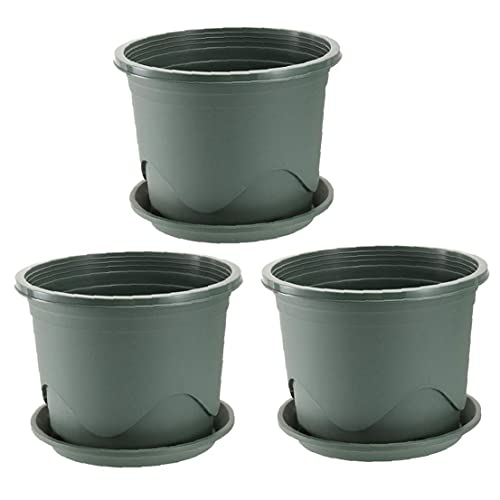 Set de macetas Pots Plant Pots Jardín semillero plantador con platillo Cuarto de la raíz de la raíz para los bonsais al aire libre para interiores 3 unids, maceta del jardín