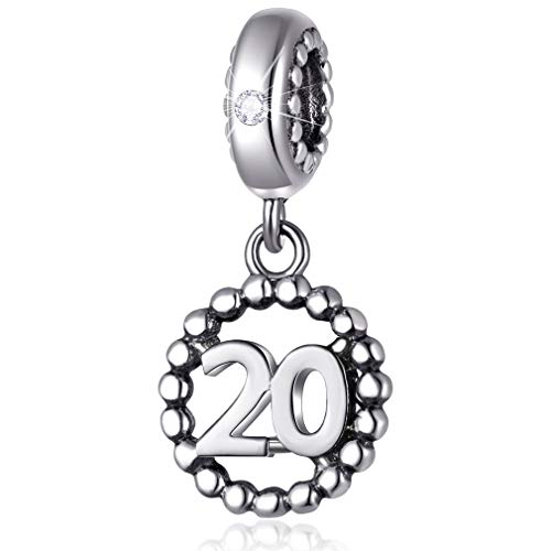 20 Number Bracelet Charms,925 Sterling Silver Pendants Beads Fit Pandora Charm Bracelets, Necklace, and European Snake Chain, Dangling Dangle for Happy Birthday Anniversary 20th/ 20 Years/Twenty