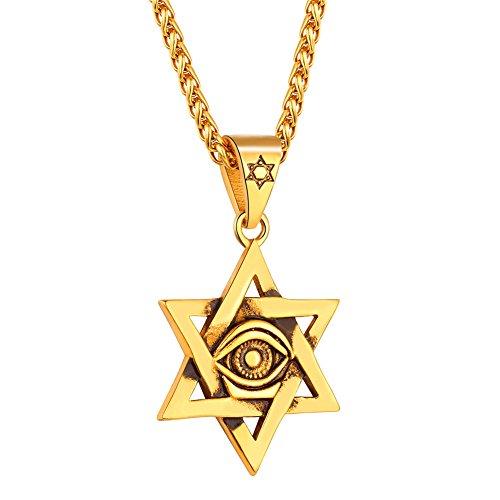 U7 Collar de Estrella de David con Evil Eye Cadena Dorada Acero Inoxidable para Hombre Collar de Oro Religion judio
