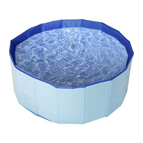 DasMorine Bañera plegable para perros, de PVC, para piscina, para perros, de natación, color azul (100 x 30 cm)
