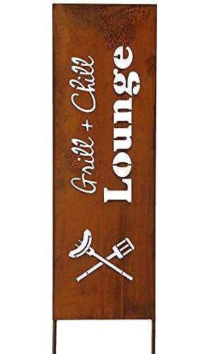 Bornhöft Schild Spruchtafel Gartenschild Edelrost rostige Gartendeko 115cm Edelrost (Grill & Chill)