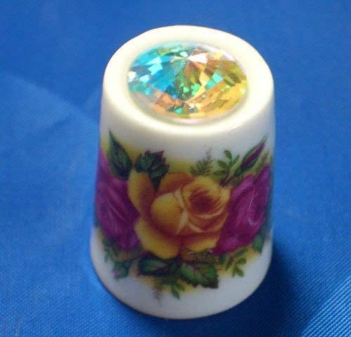 Porcelain China Thimble - Country Roses with Swarovski Crystal S