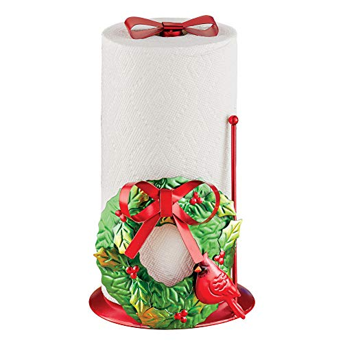 Holiday Wreath with Red Bow Metal Christmas Paper Towel Holder