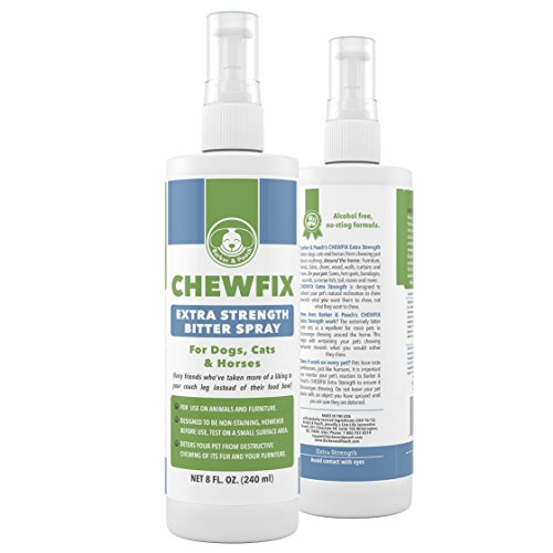 8oz Extra Strength Pet Chew Repellant - Chewfix Bitter Spray - Best Deterrent for Cat & Dog Indoor Furniture Training - Professional, No-Stain No-Sting Formula - 100% 365 Day Guarantee