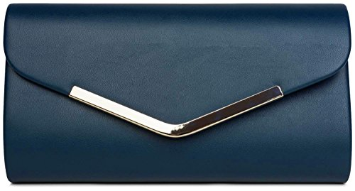 styleBREAKER Bolso de Mano Clutch/Bolso de Fiesta en diseño de sobre con Borde Decorativo de Metal y Cadena Amovible para colgarlo, de señora 02012131, Color:Azul Oscuro