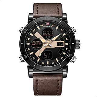 Naviforce 9132 B-Y-D.BN Leather Round Analog-Digital Watch for Men - Dark Brown