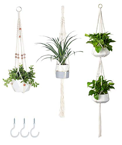 AOMGD 3 Pack Macrame Plant Hanger Indoor Hanging Planters,Different Size Handmade Cotton Rope for Indoor Outdoor Boho Home Decor with 3 Hooks