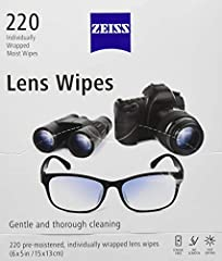 Clean glasses and camera lens on the go with ZEISS lens wipes Each wipe is individually wrapped and disposable for convenient Wipes designed to clean all lenses like sunglasses and eyeglasses Non-abrasive, antistatic micro-fine tissue cleaning wipes ...