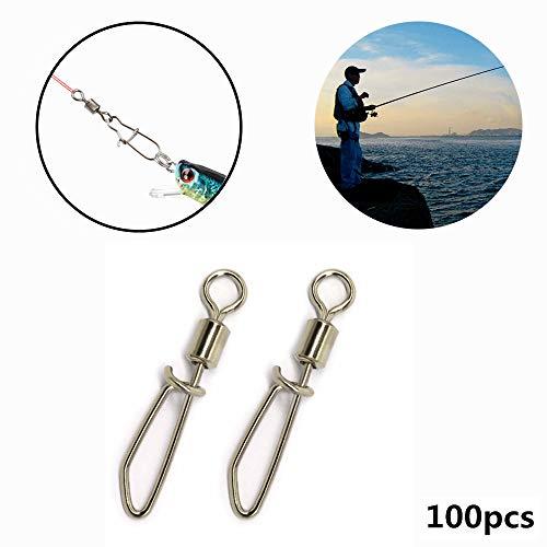 100 STK. Fishhooks-Steckverbinder, Drehbare Vollringe Aus Edelstahl T-förmige Angelanschlüsse Angelwerkzeuge 8#