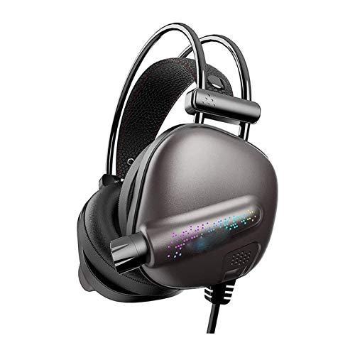 HKJZ SFLRW Auriculares de Juego, con cancelación de Ruido y luz LED, computadora portátil Compatible, Almohadillas de Orejas de Espuma de Memoria