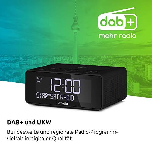 TechniSat DIGITRADIO 52 - Stereo DAB Radiowecker (Uhrenradio, Wecker, DAB+, UKW, Snooze-Funktion, Sleeptimer, dimmbares Display, Wireless-Charging Funktion, Stereo Lautsprecher 2 x 1 W) schwarz