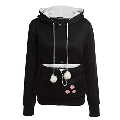 Inlefen Frauen Hoodie Sweatshirt Herbst und Winter Lange Ärmel Große Tasche Hoodie Pullover Kordelzug Schwarz M