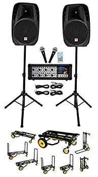 Rockville RPG2X15 PA System Mixer/Amp+15  Speakers+Stands+Mics+Bluetooth+Cart