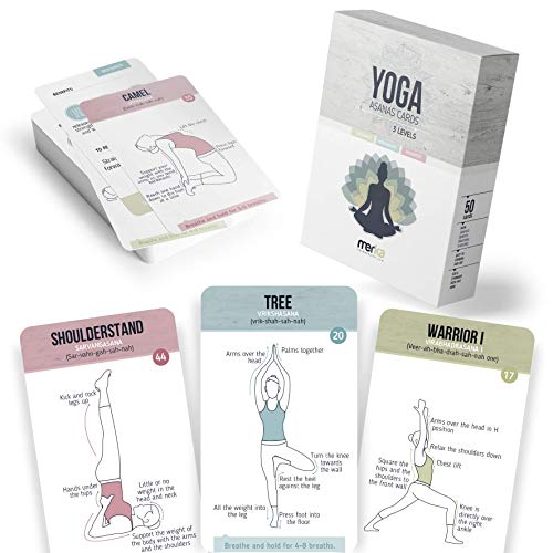 merka Yoga Flashcards - Workout Flash Cards for Women 50 Cards Asana Yoga Poses Positions and Exercises Made by Women for Beginners Starters or Masters of Yoga