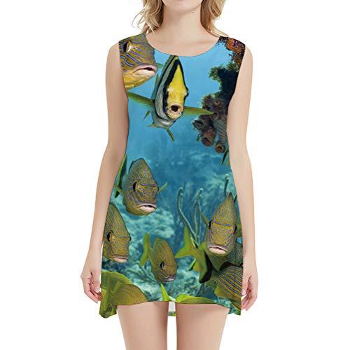 Vestido de pescado para mujer de carpa, vestido de pescador, corto, para fiesta de animales, tropical, para mujer