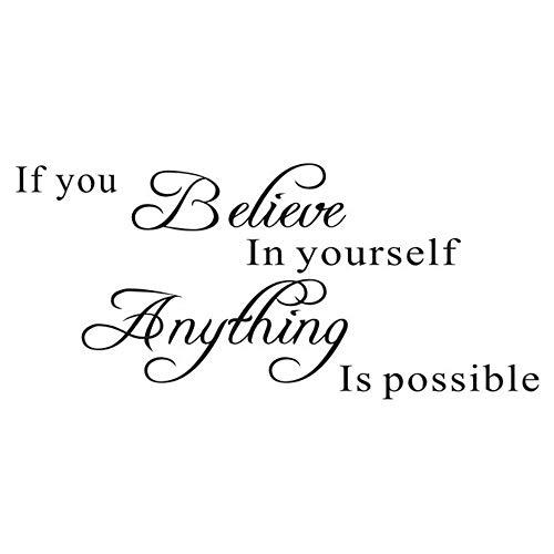 Adhesivo de pared con frases inspiradoras de N A If You Believe In Yourself Proverbs, Anything is Possible, vinilo decorativo para oficina, aula, sala de estudio ⭐