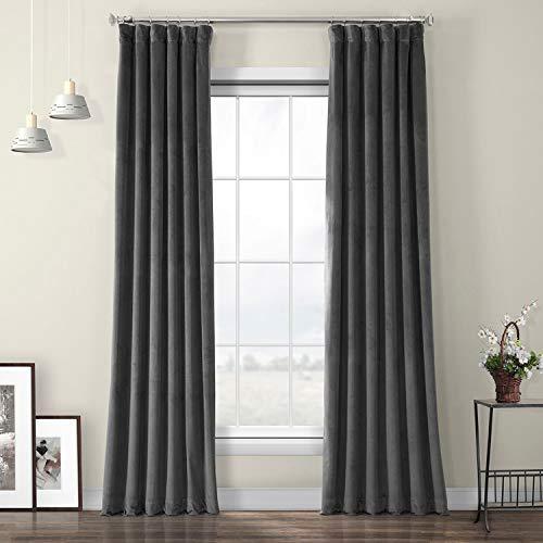 HPD Half Price Drapes VPYC-198595-96 Heritage Plush Velvet Curtain (1 Panel), 50 X 96, Pepper Grey
