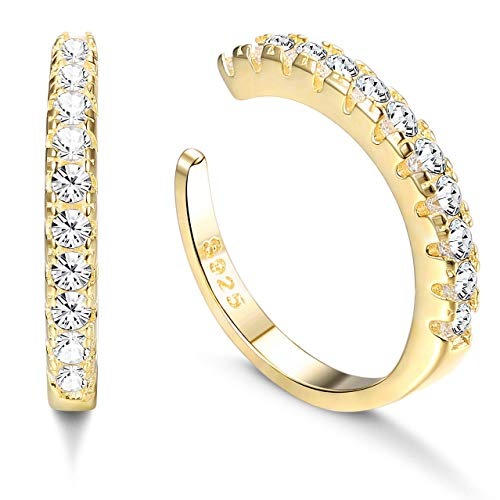 Milacolato 925 CZ de Plata Esterlina Pave Ear Cuffs Aretes Pequeños para Mujeres Zirconia Cúbica Pendientes Huggie no Piercing