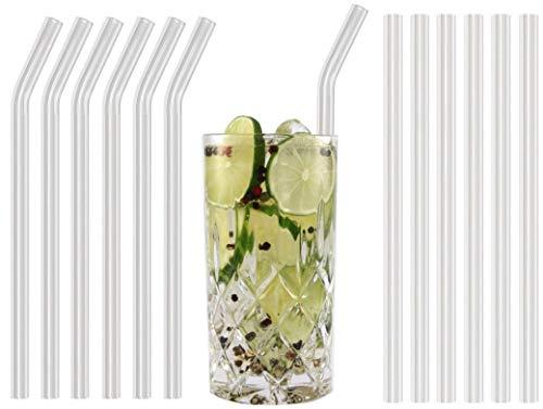 StrawBox 12 Trinkhalme Strohhalme aus Glas wiederverwendbar - 6 gebogen, 6 gerade Glasstrohhalme, 2 Reinigungsbürste. 21 cm lang, 10 mm Durchmesser - geeignet für die Spülmaschine