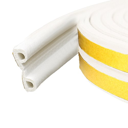 Lvguang Burlete Autoadhesivo Sellar Ventana Tira de Sellado en Forma de D Aislamiento Acústico Blanco 9 * 6 mm