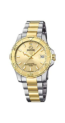 JAGUAR Reloj Modelo J896/2 de la colección Woman, Caja de 34 mm champan con Correa de Acero Bicolor para señora