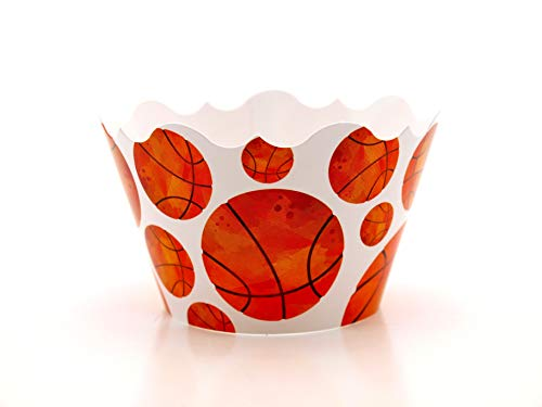 Basketball Party Supplies Cupcake Wrappers (12 Pack) - Fun Party Favors for NBA or NCAA Game Night Viewing Parties, Boys Sports Themed Birthday Party Decorations