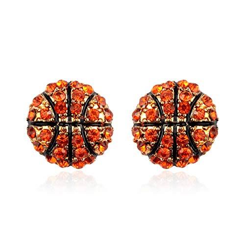 Sports Game Team Earrings - Sparkly Rhinestone Studs, Metallic, Hook...