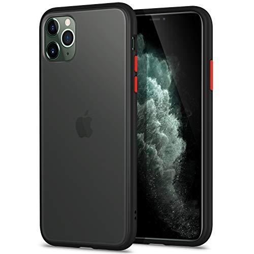 YATWIN Funda para iPhone 11 Pro MAX(6,5''), [Shockproof Style] Transparente Mate Case, TPU Bumper Rubber y Botones Coloridos, Carcasa Protectora para Apple iPhone 11 Pro MAX 2019 - Negro Clasico