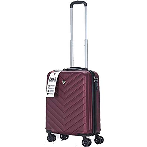 New Eagle Luggage Super Lightweight Durable ABS Hard Shell Hold Luggage Suitcases Travel Bags Trolley Case Hold Check in with 4 Wheels Built-in TSA Lock (Cabin 20', Burgundy)