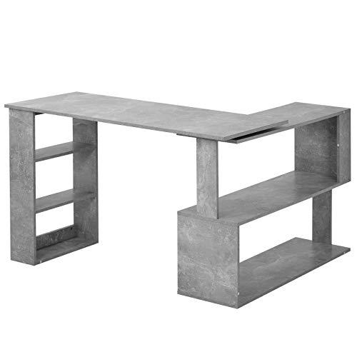 QYLJZB Tablero de partículas, escritorio de esquina para ordenador, mesa de juego con soporte completo, mesa de oficina en casa con tablero de empalme, rotación de 360 grados