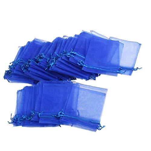 Bolsas 100pcs del regalo del Organza del lazo bolsas de la joyería del favor de la fiesta de la boda bolsas de regalo para favor de la fiesta de bienvenida bebé de la boda - azul de 9cm x 12cm