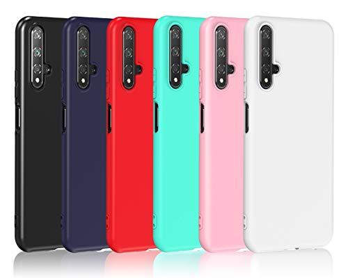 VGUARD[6 Pack] Cover per Huawei Nova 5T / Honor 20, Ultra Sottile Silicone Custodia Morbido TPU Case Protettivo Gel Cover (Nero, Blu Scuro, Rosso,Verde, Rosa,Trasparente)