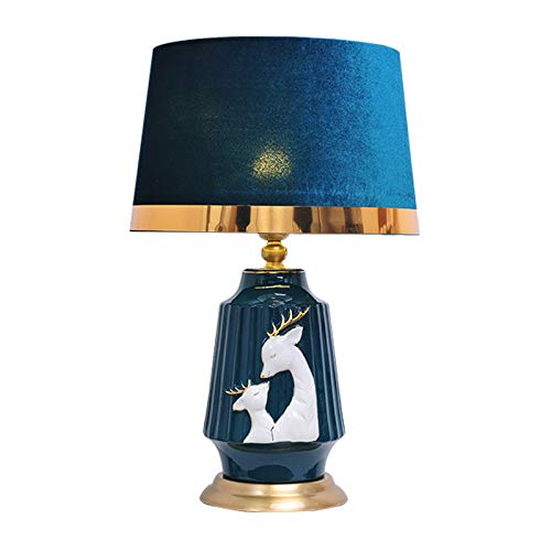 Lámpara de escritorio para sala de oficina Pintado a mano moderno ciervos mesa Lámpara de mesa de cerámica lámpara de escritorio con base metálica de cobre chapado y azul pantalla de la tela, de 22 pu