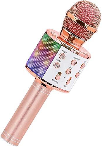 SeeKool Bluetooth Karaoke Micrófono con Las Luces LED, Altavoz inalámbrico portátil, para Cantar Hogar KTV, mejor regalo para cumpleaños, Compatible con Android/iOS/PC (pink)