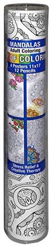 Joy of Coloring Mandalas Set Includes 4 Posters, 12 Colored Pencils 1 Pencil Sharpener