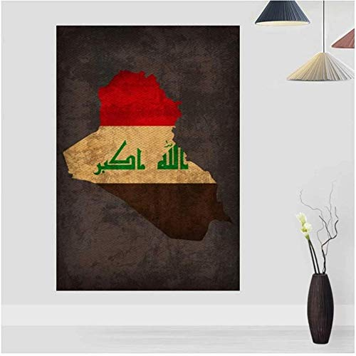 Canvas print,Land vlag kaarten Poster Vintage Irak land vlag kaart Home Decor Wall Art Decor-40x60cm