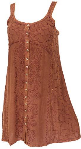 GURU SHOP Besticktes Indisches Kleid, Minikleid, Damen, Braun/Design 23, Synthetisch, Size:40, Kurze Kleider Alternative Bekleidung