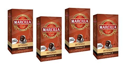 Marcilla Café Intenso Intensidad 10 - 40 cápsulas de aluminio compatibles con máquinas Nespresso (R)* (4 Paquetes de 10...