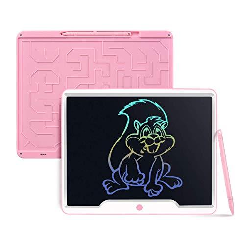 Upgrow LCD Schreibtafel 15 Zoll, Helle Schrift mit Anti-Clearance Funktion, großer Augenschutz-Bildschirm und Stift, LCD Writing Tablet Mahltafel für Schreiben Malen Notizen (Rosa+Bunt)