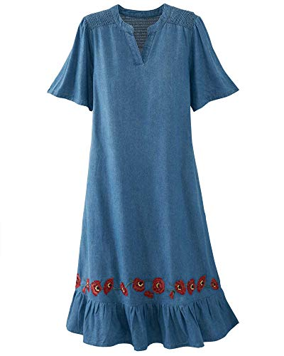 National Smocked Denim Dress, Bleached, 1X (Apparel)