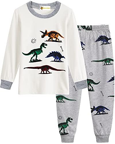 MOLYHUA Schlafanzug für Jungen Dinosaurier Zweiteilige Schlafanzüge Baby Pjs Kinder Langarm Pyjamas Nachtwäsche, 02 Dinosaurier (Weiß), 122