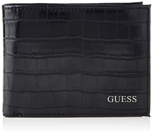 Guess Herren BO Flat Billfold Reisezubehr- Brieftasche, schwarz, Einheitsgröße