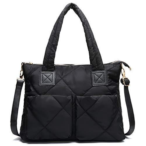 Nylon Quilted Tote Bag Lightweight Water Resistant Travel Handbag Fashion Shoulder Bag for Women (Large Quilted)