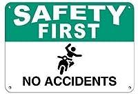 安全第一事故なし。メタルティンサイン耐久性、耐水性、セキュリティを警告する道路交通の危険を通知します
